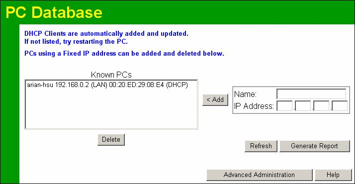 "Wireless ADSL Router User Guide PC Database The PC Database is used whenever you need to select a PC (e.g. for the ""DMZ"" PC). It eliminates the need to enter IP addresses."