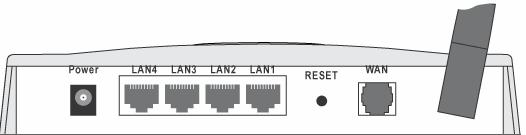 Wireless ADSL Router User Guide Rear Panel Figure 3: Rear Panel Power port 10/100BaseT LAN connections Reset Button (Reset to Defaults) WAN port (ADSL port) Connect the supplied power adapter here.