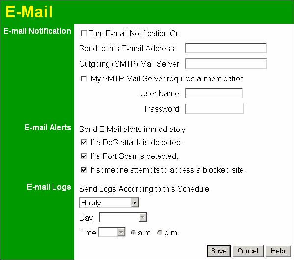 Advanced Features E-mail This screen allows you to E-mail Logs and Alerts. A sample screen is shown below.