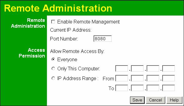 Wireless ADSL Router User Guide Remote Administration If enabled, this feature allows you to manage the Wireless ADSL Router via the Internet.