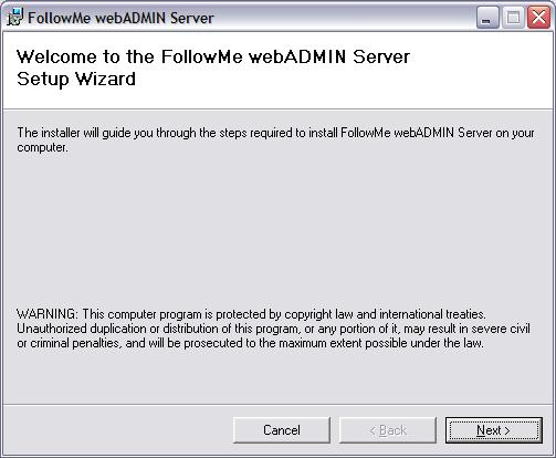 Installing the Web Administratin bundled Web Server (nn-iis envirnment) Select