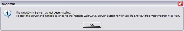 Yu will nw be given cnfirmatin that the Web Administratin Web Server has been