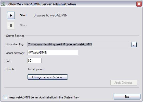 Once the service is started, click n Exit t return t the FllwMe Q-Server setup wizard.