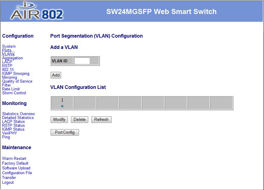 VLAN The VLAN screen allows configuration of up to 24 VLAN groups for 802.1q VLAN. To add a VLAN, enter an ID for the group and click Add.