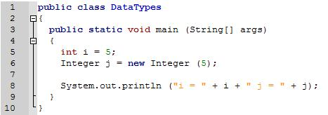 Primitive Datatypes versus Objects Explain the