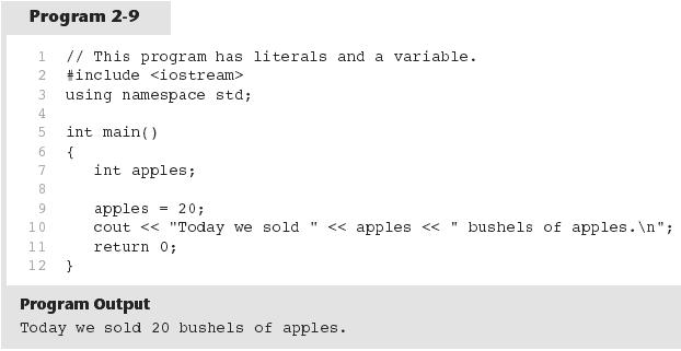 14 Variables and Literals Literals 20 is