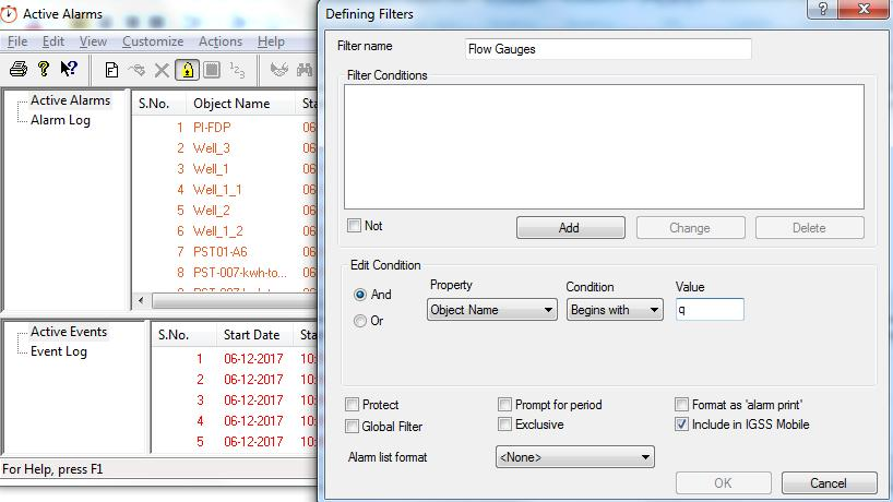 Exercise 1: Working as an Operator in IGSS 2. In the tree view, select the Active Alarms folder.
