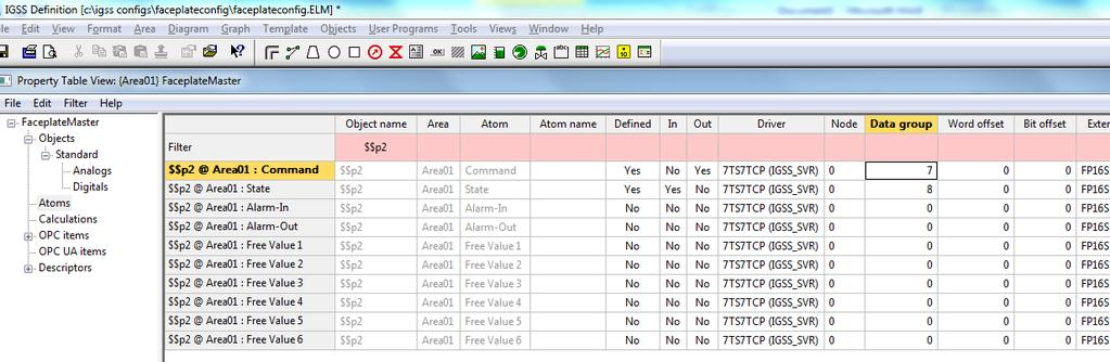 In the left pane of the Property Table View form, click Atoms to display the atoms of the digital objects.
