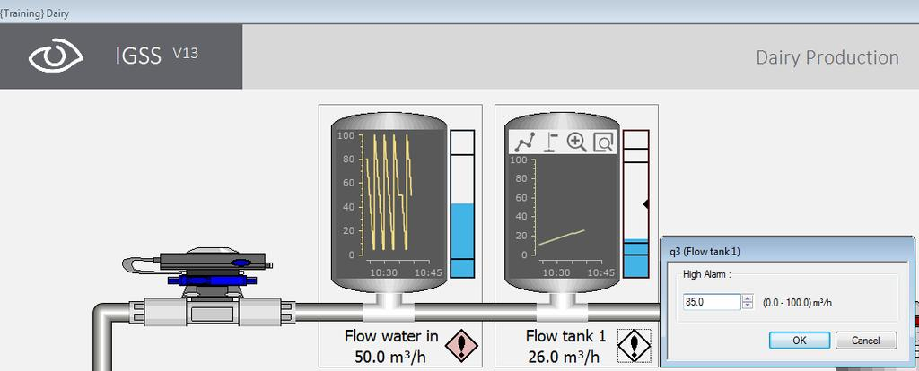 Who has the right to control the pump? 10. Click Back to open the Training diagram. Select the Dairy Production diagram. 11. In the Dairy diagram, locate the q3 analog object (Flow tank 1).