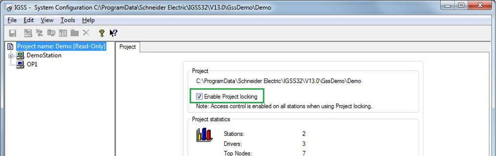 In the left pane of the System Configuration form, mark the name of the project in this case Demo - for which you want