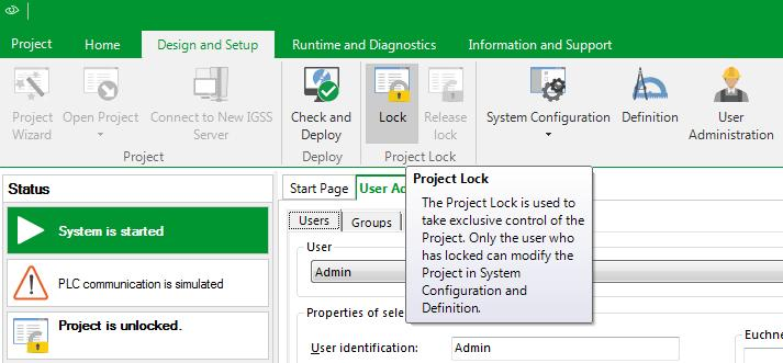 Exercise 12: Create Users & User Privileges; Lock project 7. In the Design and Setup tab s Status pane, it says Project is unlocked. Click the Lock icon to lock the project.