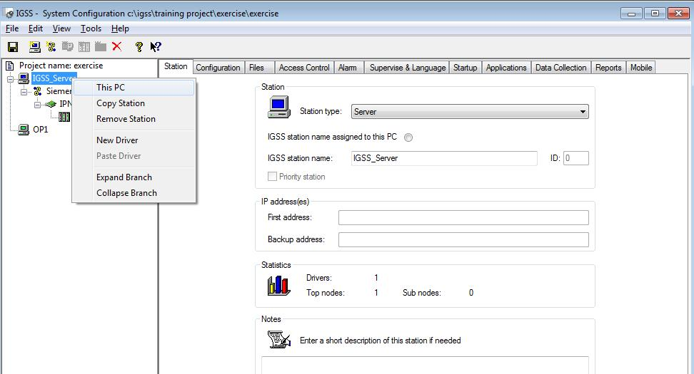 Exercise 2: Creating a new IGSS Project 16. In the left pane, right-click IGSS_serverand select This PC.