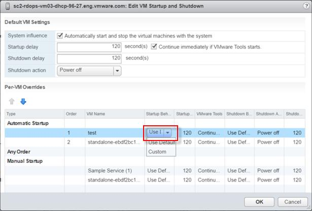 Setting Shutdown delay Shutdown action Description When you power off the ESXi host, it starts powering off the virtual machines that run on it.
