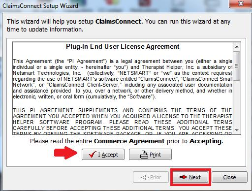 Accept the agreement and click Next. The next screen is for setting up the Insurance Company Billing methods.