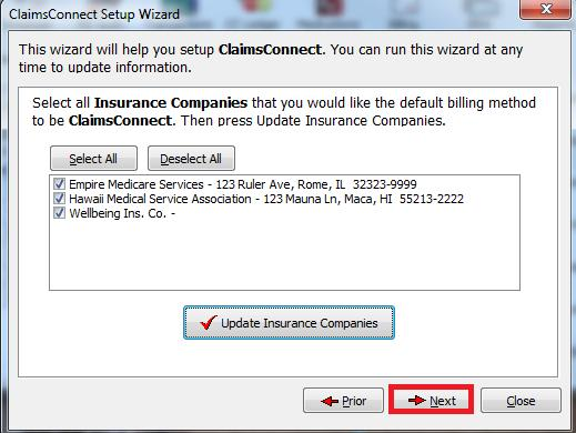 You will now be back the list of Insurance Companies.