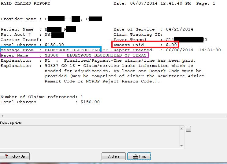 The PAID report will indicate who the message is from (BLUE BOX). It will also let you know the payer name (PURPLE BOX).