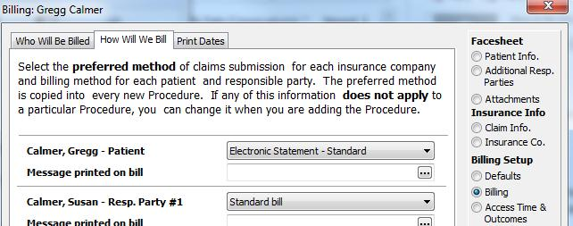 The patients billing method should now show Electronic Statement Standard. If you are using responsible parties as the billing party, follow the same steps for them.