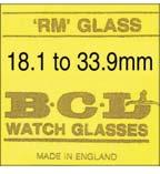 WATCH GLASSES 286 Flat Top BCL RM Flat Top, BCL RM Flat Top Raised Round Acrylic - BCL (RM or BRM) Range: Ø18.1 to Ø33.9mm (whilst stock lasts) glasses without gasket.
