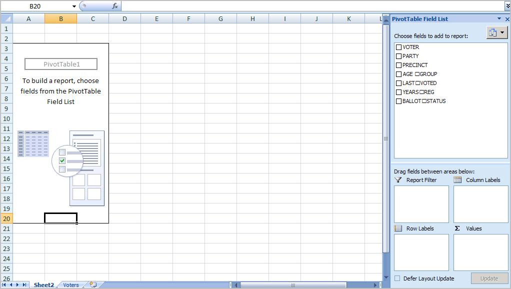You ll see that the fields from our source spreadsheet were carried over to the PivotTable Field List. 11.