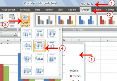 Excel creates a Clustered Column chart and the Chart Tools context tabs appear. Apply a Chart Layout Context tabs are tabs that only appear when you need them.