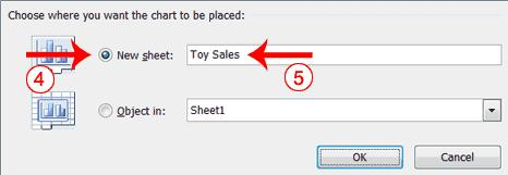 4. Click the New Sheet radio button. 5. Type Toy Sales to name the chart sheet. Excel creates a chart sheet named Toy Sales and places your chart on it. 3.