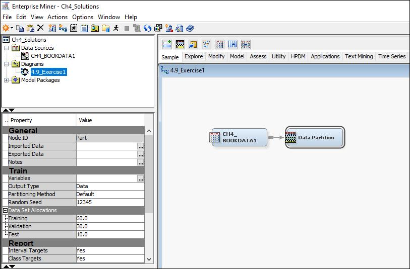Display 4.27 Click OK to create the diagram. Drag the data source into the work space diagram and attach the data partition node. Set the data set allocation as shown in Display 4.