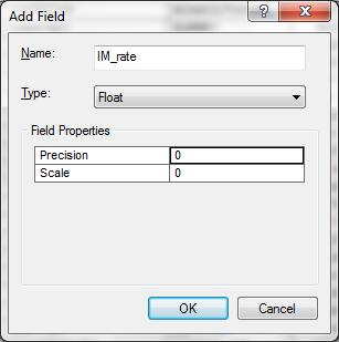 We want t add a field IM_rate f Type Flat (which means that it is a real number with