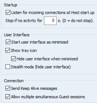 Program options Startup: Check this setting to have the Host service initialize communication when the service is loaded.