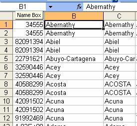 After copying the values in Column B, the formula no longer displays in the toolbar, only the