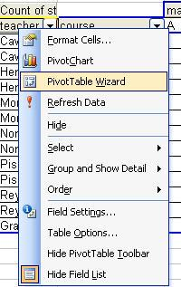 The Pivot Table Wizard provides another view of the layout for a new or existing Pivot Table, and permits you to manipulate fields in and
