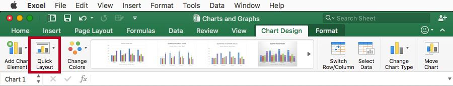3. On the Chart Design tab, click the Quick Layout button. Figure 28 - Quick Layout Button 4.