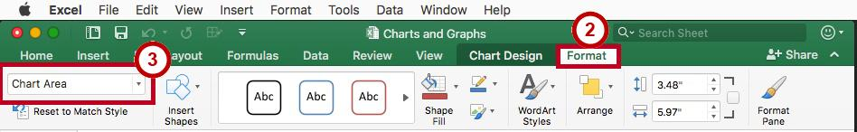 Chart Formatting Using the Format Tab The Format contextual tab contains a useful drop-down box to allow you to easily select