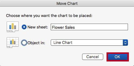 Figure 44 - Move Chart 3. The Move Chart window will appear. Choose the desired location for the chart, enter a name, then click OK.