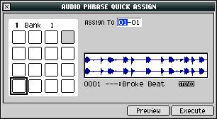 Making an Audio Phrase In the Quick Assign window shown on Page 9, click AsgnToAPhrs (for Assign to Audio Phrase ) the AUDIO PHRASE QUICK ASSIGN window appears.