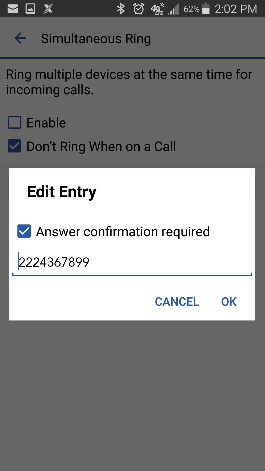 Main Menu Figure 25: Edit Simultaneus Ring Entry Call Waiting You can have one active call at any one time. If you receive a new incoming call and accept it, the existing call is put on hold.