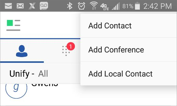 Contacts Contacts The Contacts list can contain different types of contacts as follows: Presence-enabled contacts (other UC App users) Non-presence-enabled contacts (contacts that have been added