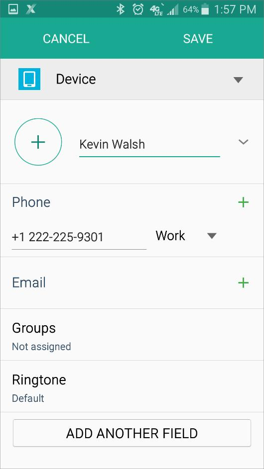 Contacts 3. Tap the Save button. Result: The contact is saved to the phone s Local Address Book.