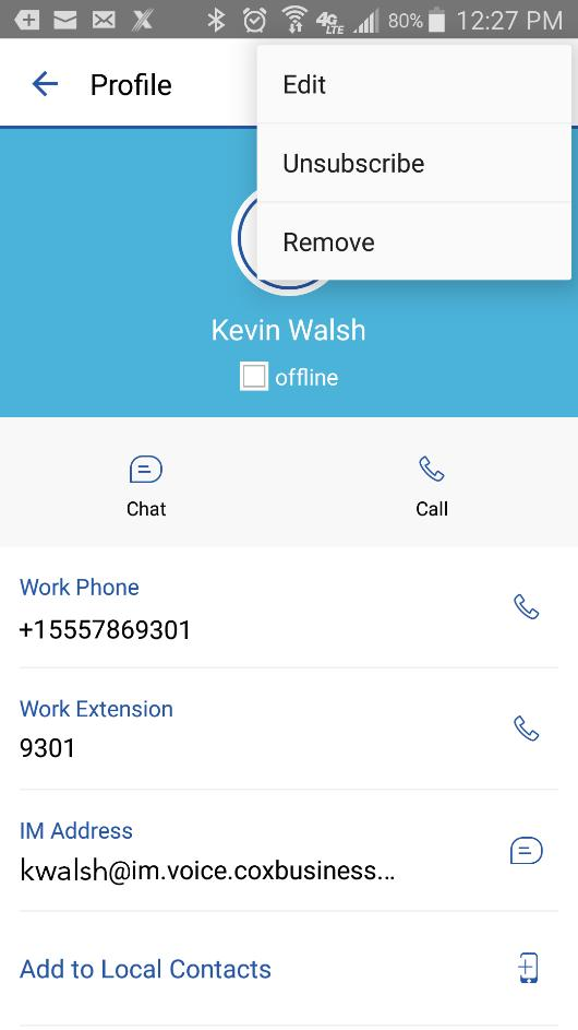 Contacts Figure 35: Contact Card Menu Options Edit 1. Tap a contact in the Contacts list to open their contact card. 2. Tap the menu icon ( ) to access the contact card menu options, and select Edit.
