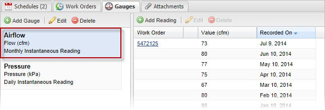 Adding and Editing Gauge Readings Selecting the Readings tab (t the right f the Graph tab at the bttm f the screen)