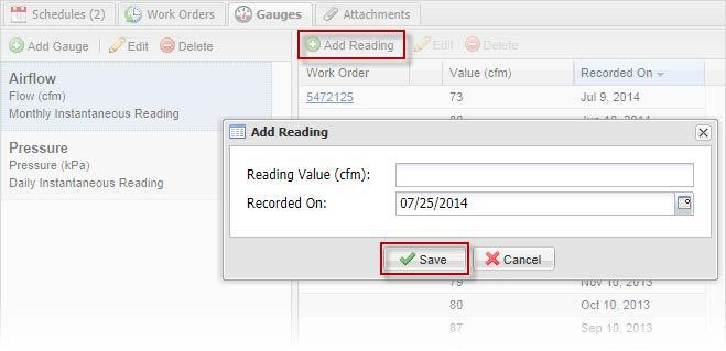 In the Add Reading windw that pens, enter a reading value, the date the reading was recrded, then click Save.