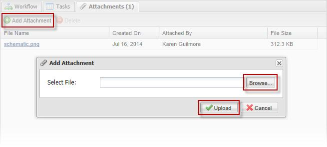 Users can remve an attachment by selecting an attachment and clicking Delete. Users can uplad an attachment by clicking Add Attachment.