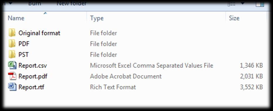 Export reports link the original files to the exported files, by listing identifying information about the original item (e.g. source evidence file, MD5 hash) and linking to the exported file.