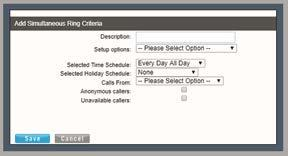 SETUP FIND ME SIMULTANEOUS RING NUMBERS 1. Click within the appropriate radial button to turn On / or Off (default). 2.