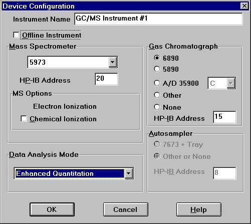 Configuring the ChemStation Software 1 Double-click the Config icon in the Productivity Tools group. The Device Configuration dialog box allows you to specify your system s configuration.