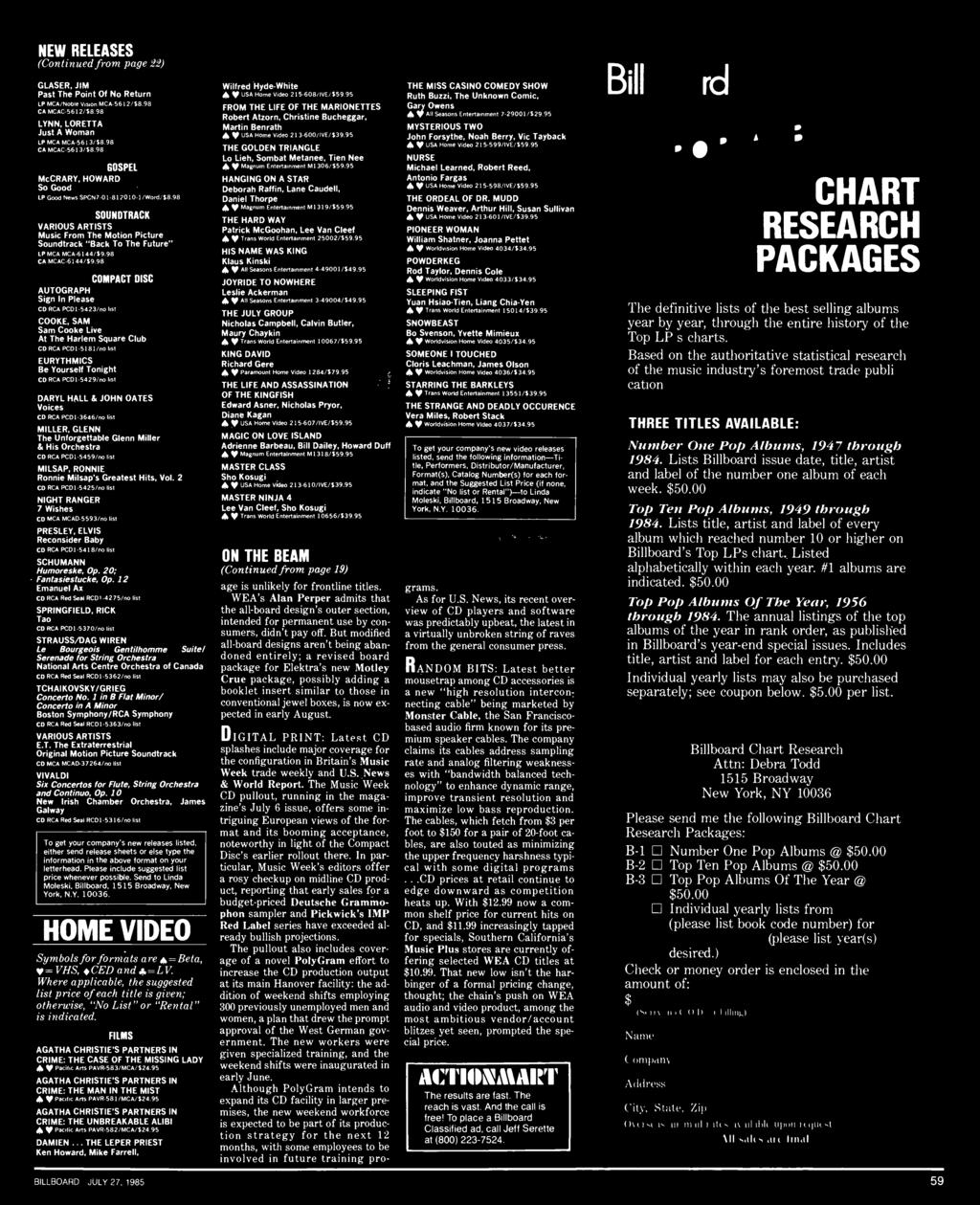 NEW RELEASES (Continued from page 22) GLASER, JIM Past The Point Of No Return LP MCA /Noble Vision MCA -5612/$8.98 CA MCAC 5612 58.98 LYNN, LORETTA Just A Woman LP MCA MCA -5613/58.