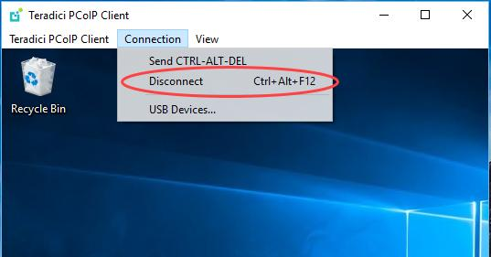 Disconnecting a Session To disconnect a PCoIP session from either client, but still leave the PCoIP Software Client