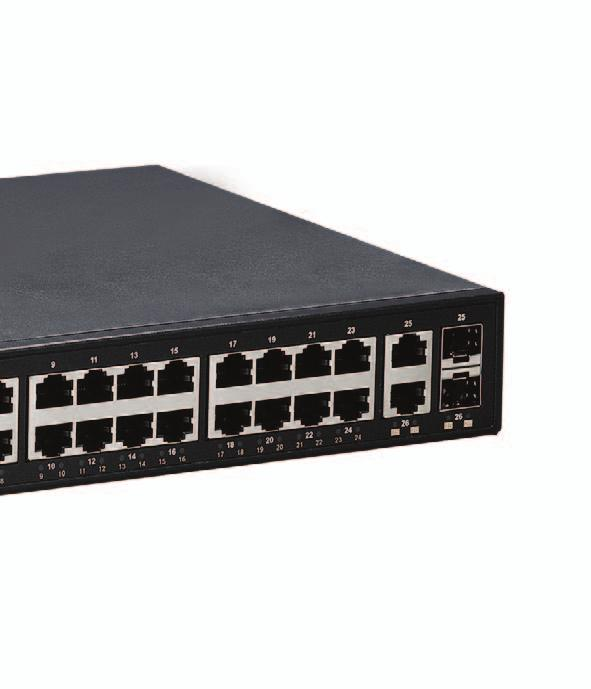 Equipped with 24 10/100/1000BASE-T ports, in combination with 2 100/1000 SFP Combo options, the EX26262F is feature-rich, with 9216 Bytes Jumbo Frame support, full wire speed Gigabit throughput, and