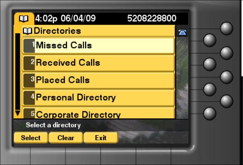 [Call Logs] [View Missed, Received and Placed Calls] Press the Directories button Use the Navigation button to select the desired directory, and click the Select soft key To place a call from any