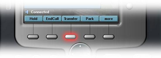 [Transfers] [Transfer a Call] During a call, press the Transfer soft key - this automatically puts the call on hold Dial the number or extension to which you want to transfer the call When it rings