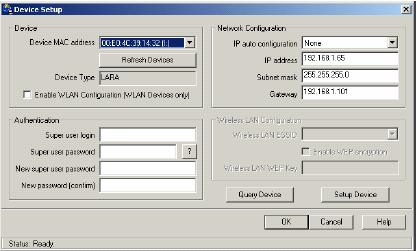 Figure4-1. IP-KVM switch setup tool On the upper left corner, the MAC address of the IP-KVM switch is displayed. To detect the MAC address, manually, press the button Refresh Devices.